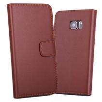 Samsung Galaxy S7 Edge Echte Lederen Wallet Case Bruin