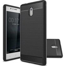 Geborstelde TPU Cover - Nokia 3 - Zwart