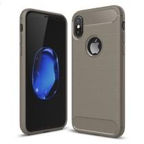 Geborstelde TPU Cover - iPhone X - Grijs