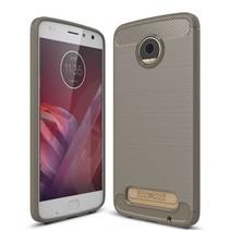 Geborstelde TPU Cover - Motorola Moto Z2 Play - Grijs