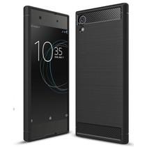 Geborstelde TPU Cover voor Sony Xperia XA1 Plus - Zwart