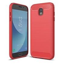 Geborstelde TPU Cover - Samsung Galaxy J7 2017 - Rood