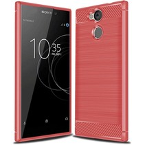 Sony Xperia L2 - Geborstelde TPU Cover - Rood