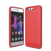 Huawei Honor 9 - Geborstelde TPU Cover - Rood