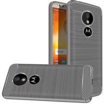 Motorola Moto E5 - Geborstelde TPU Cover - Grijs