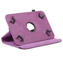 Universele 7 inch tablet case 360 graden draaibaar paars