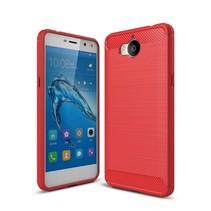 Huawei Y5 (2017) - Geborstelde TPU Cover - Rood