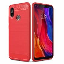 Xiaomi Mi 8 - Geborstelde TPU Cover - Rood