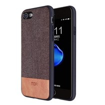 iPhone 7 / iPhone 8 - Shock Fabric Case - Bruin / Licht Bruin