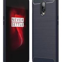 Geborstelde TPU Cover - OnePlus 6T - Donker Blauw