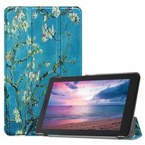 Lenovo Tab E8 hoes (TB-8304F)  - Tri-Fold Book Case - Witte Bloesem