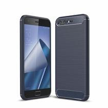 Asus ZenFone 4 Pro (ZS551KL) - Geborstelde TPU Cover - Blauw