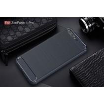 Asus ZenFone 4 Pro (ZS551KL) - Geborstelde TPU Cover - Zwart