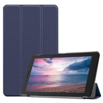Lenovo Tab E8 hoes (TB-8304F)  - Tri-Fold Book Case - Donker Blauw