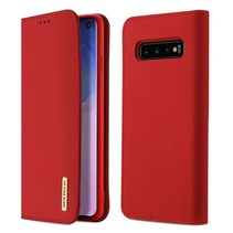 Samsung Galaxy S10 hoes - Wish Series Lederen Book Case - Rood