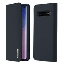 Samsung Galaxy S10 hoes - Wish Series Lederen Book Case - Blauw