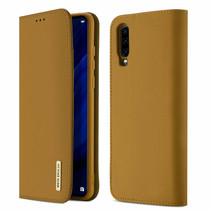 Huawei P30 hoes - Wish Series Lederen Book Case - Bruin