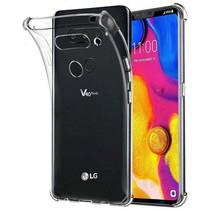 LG V40 hoes - Anti-Shock TPU Back Cover - Transparant