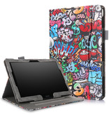 Case2go Lenovo Tab P10 hoes - Wallet Book Case - Graffiti