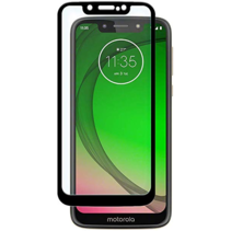 Motorola Moto G7 Play - Full Cover Screenprotector - Gehard Glas - Zwart