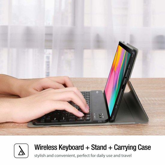Case2go Samsung Galaxy Tab A 10.1 (2019) - Bluetooth toetsenbord hoes + Screenprotector - Zwart