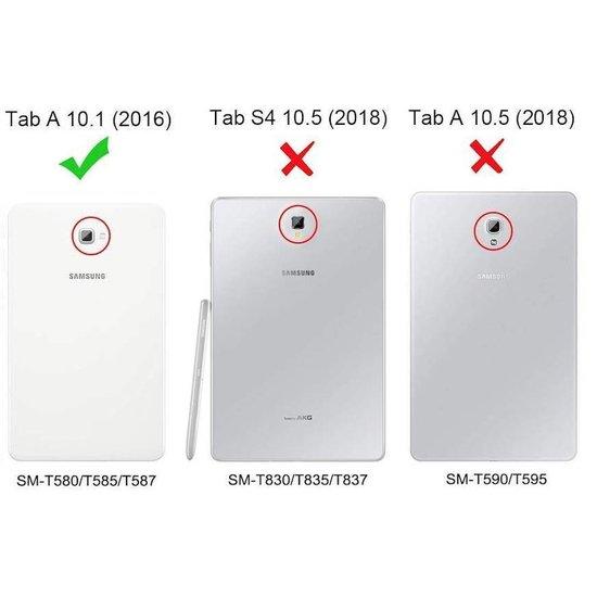 Case2go Draaibare hoes voor de Samsung Galaxy Tab A 10.1  (2016-2018) + screenprotector - Zwart