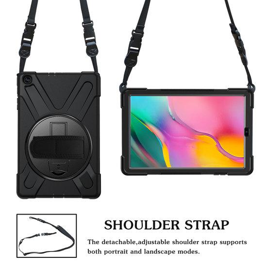 Case2go Samsung Galaxy Tab A 10.1 (2019) Cover - Hand Strap Armor Case - Zwart