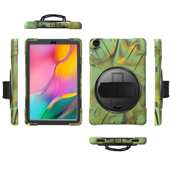 Case2go Samsung Galaxy Tab A 10.1 (2019) Cover - Hand Strap Armor Case - Camouflage