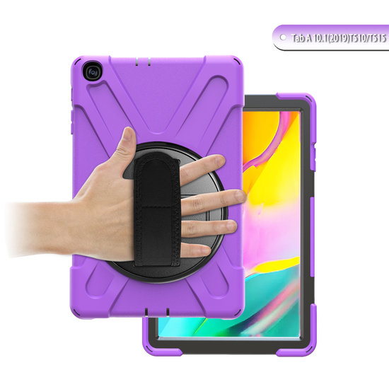 Case2go Samsung Galaxy Tab A 10.1 (2019) Cover - Hand Strap Armor Case - Paars