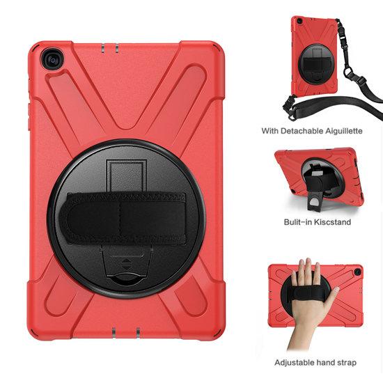 Case2go Samsung Galaxy Tab A 10.1 (2019) Cover - Hand Strap Armor Case - Rood