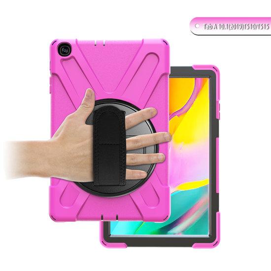 Case2go Samsung Galaxy Tab A 10.1 (2019) Cover - Hand Strap Armor Case - Magenta