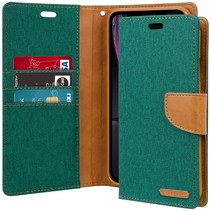 iPhone XR hoes - Mercury Canvas Diary Wallet Case - Groen