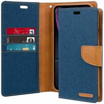 iPhone XR hoes - Mercury Canvas Diary Wallet Case - Blauw