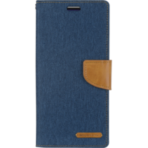 Motorola Moto G7 (Plus) hoes - Mercury Canvas Diary Wallet Case - Blauw