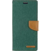 LG G8 ThinQ hoes - Mercury Canvas Diary Wallet Case - Groen