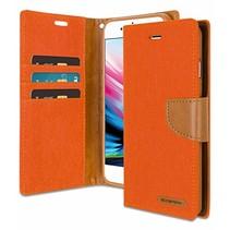 Mercury Canvas Diary Wallet Case - iPhone 7 / iPhone 8 - Oranje