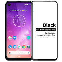 Motorola One Vision - Full Cover Screenprotector - Zwart