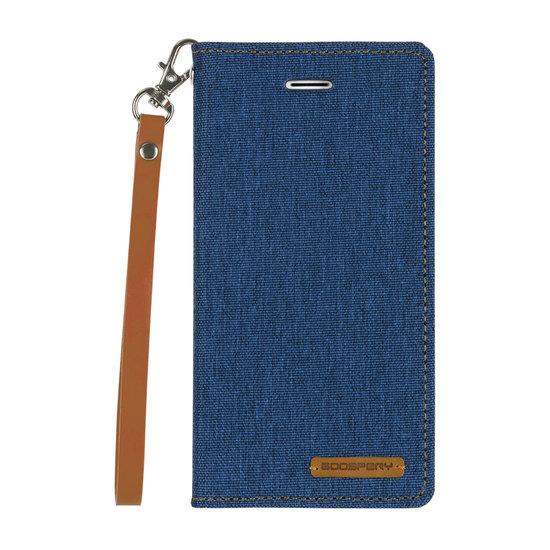 Mercury Samsung Galaxy A8 Plus (2018) hoes - Mercury Canvas Flip Wallet Case - Blauw