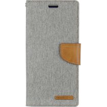 Samsung Galaxy M20 hoes - Mercury Canvas Diary Wallet Case - Grijs