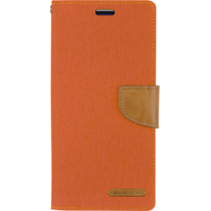 Samsung Galaxy M20 hoes - Mercury Canvas Diary Wallet Case - Oranje