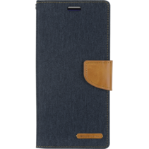iPhone X/XS hoes - Mercury Canvas Diary Wallet Case - Donker Blauw