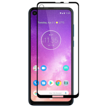 Motorola One Action - Full Cover Screenprotector - Gehard Glas - Zwart