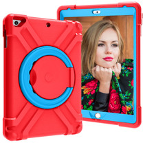 iPad 9.7 (2017/2018) Hoes - Rotating Heavy Duty Stand Case - Rood/Licht Blauw