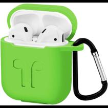 Apple Airpods hoesje - Premium Siliconen beschermhoes met opdruk - 3.0 mm - Groen