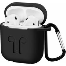 Apple Airpods Hoesje - Siliconen Airpods Hoes met Karabijnhaak - Case voor Airpods 1/2 - Zwart