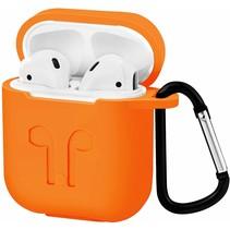Apple Airpods Hoesje - Siliconen Airpods Hoes met Karabijnhaak - Case voor Airpods 1/2 - Oranje