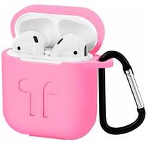 Apple Airpods Hoesje - Siliconen Airpods Hoes met Karabijnhaak - Case voor Airpods 1/2 - Roze