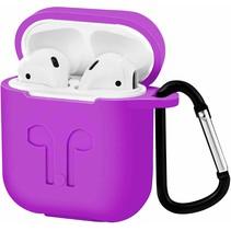 Apple Airpods Hoesje - Siliconen Airpods Hoes met Karabijnhaak - Case voor Airpods 1/2 - Paars