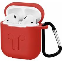 Apple Airpods hoesje - Premium Siliconen beschermhoes met opdruk - 3.0 mm - Rood