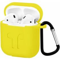 Apple Airpods Hoesje - Siliconen Airpods Hoes met Karabijnhaak - Case voor Airpods 1/2 - Geel